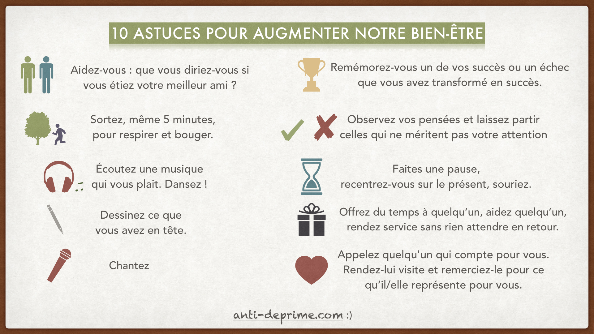 affiche gratuite 10 astuces pour augmenter notre bien tre. Black Bedroom Furniture Sets. Home Design Ideas
